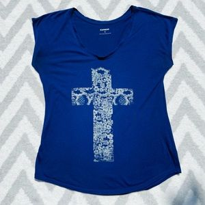 Express | Navy Blue Graphic Tee With a Floral Cross Design